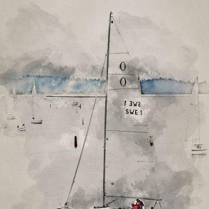 Enomis - Konstnärlig bild - Segelbåt akvarell